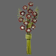 HATTIE CARNEGIE Enamel and Clear Crystal Floral Bouquet Pin
