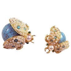 HATTIE CARNEGIE Turquoise Cabochon and Seed Pearl Lady Bug Pins