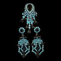 HATTIE CARNEGIE Turquoise and Jet Black Fringe Tassels Pin and Pendant Clip Earrings