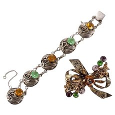 HOBE 1940's Sterling Vermeil 5-Link Crystal Bracelet and Floral Bow Pin