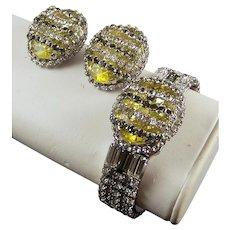 HATTIE CARNEGIE (Unsigned) Citrine, Diamante, and Black Diamond Bangle Bracelet and Clip Earrings Set