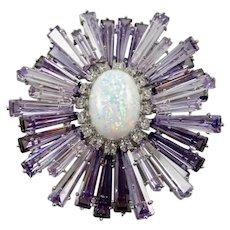 Massive JARIN K. Schreiner Design Opaline and Amethyst Ruffle Pin
