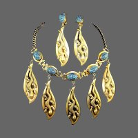 JOSEFF (of Hollywood) Simulated Turquoise Lizards Pendants Necklace and Clip Earrings Set