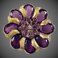 JOSEFF (of Hollywood) Block Letter Signed Huge Amethyst Crystal Floral Pin