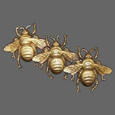 JOSEFF (of Hollywood) Block Letter Signed Antiqued Russian Gold Gilt Triple Bee Pin