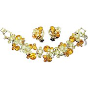 JULIANA D and E Topaz and Clear Crystals 5-Link Bracelet and Clip Earrings Set