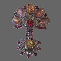 JULIANA Large Cat's Eye Cabochon Multi-colored Crystal Articulated Pin