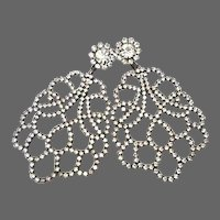 K.J.L. 1960's Lacy Pavé Crystal Tracery Pendant Clip Earrings