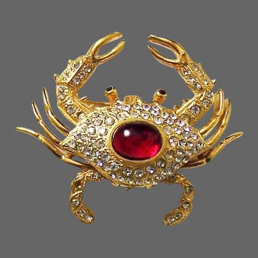 KJL KENNETH J. LANE 1960's Ruby Red and Diamante Crab Watch/Pin