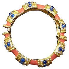 K.J.L. 1960's Coral Enamel Simulated Lapis and Diamante Bangle Bracelet