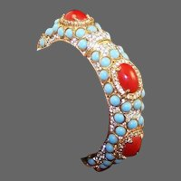 K.J.L. 1960's Coral and Turquoise Cabochon Pave Rhinestone Bangle Bracelet