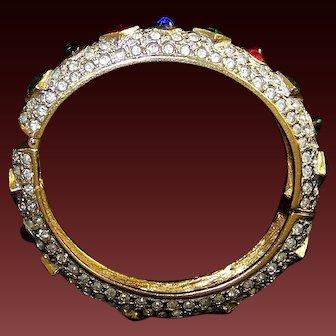K.J.L. 1960's Ruby, Sapphire, Emerald and Diamante Hinged Bangle Bracelet