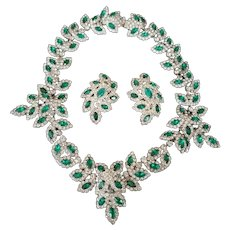 KJL KENNETH J. LANE (Unsigned) Emerald and Diamante Lacy Necklace and Clip Earrings Set