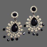 KJL KENNETH J. LANE Jet and Diamante Pendant Clip Earrings