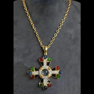KJL KENNETH J. LANE 'Jewels of India' Maltese Cross Pendant Necklace