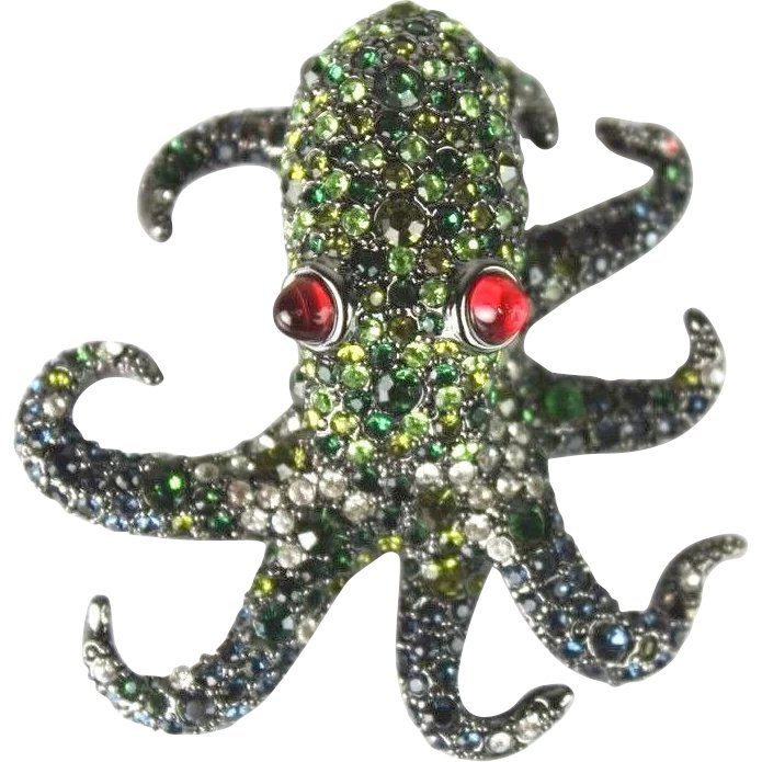 Kenneth Jay Lane Multi Green Pavé Octopus Brooch Green ne93erzeev