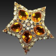 KJL KENNETH J. LANE Amber and Clear Crystals Star Pin