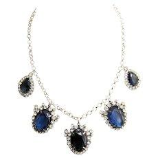 K.J.L. Sapphire and Diamante Crystals Pendants Necklace