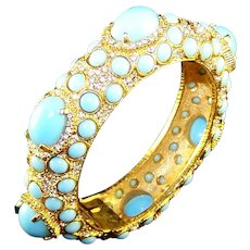 K.J.L. 1960's Turquoise Cabochon and Pave Rhinestone Bangle Bracelet