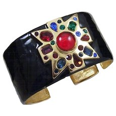 KJL KENNETH J. LANE Enamel Jeweled Verdura Maltese Cross Cuff Bracelet