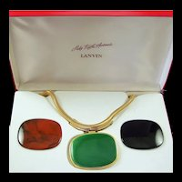 LANVIN, PARIS Saks Fifth Avenue Interchangeable Green/Black/Tortoiseshell Pendants Necklace in Case