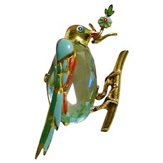 Rare LEO GLASS 1940's Enamel and Blue Topaz Crystal Bird of Peace Pin