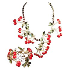 DAVID MANDEL 'The Show Must Go On' Cherry Fruit Bib Massive Necklace & Bracelet