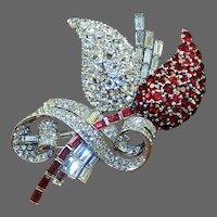MAZER Giant Ruby and Diamante Deco Fruit Pin