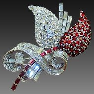 MAZER Giant Ruby and Diamante Deco Fruit Pin