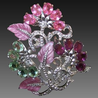 MAZER (Unsigned) Fruit Salads, Crystals and Pave Large Floral Spray Pin