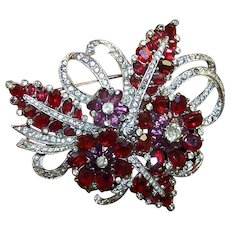 MAZER Giant Ruby, Amethyst and Pave Crystals Floral Spray Pin