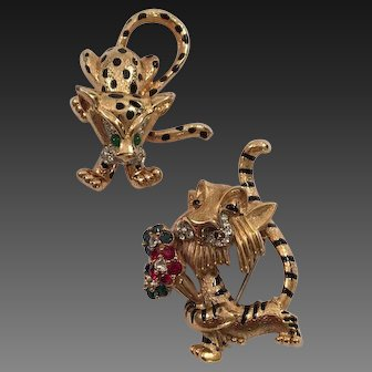 JOMAZ Enamel and Crystals Male Tiger and Female Leopard Pins