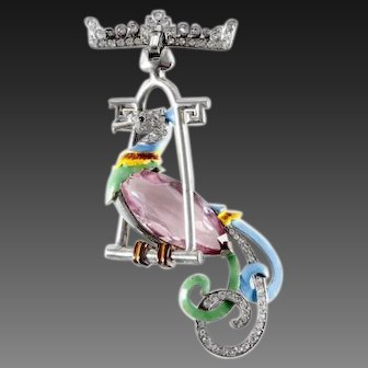 MAZER Pink Topaz Crystal Pave and Enamel Bird of Paradise on Pendant Swing/Perch Pin