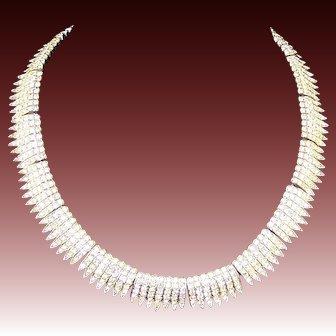 TRIFARI 1950's 'Alfred Philippe' Diamante Pave Crystals 'Egret' Necklace