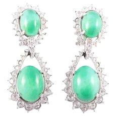 MAZER Chrysoprase and Diamante Pendant Clip Earrings