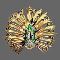 JOMAZ Enamel and Rhinestone Peacock Pin