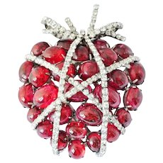 IRADJ MOINI Huge Ruby Red Cabochons and Swarovski Crystals 'Caged Heart' Pin