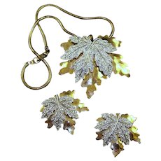 McCLELLAND BARCLAY Gold and Pave Maple Leaf Pendant Necklace and Clips/Pins