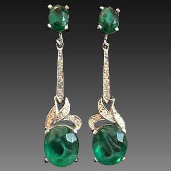 PANETTA Emerald and Pave Crystals Clip Pendant Earrings