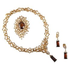 PANETTA Organic Topaz and Diamante Pendant Necklace, Pin, and Pendant Clip Earrings Set
