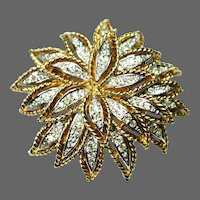 PANETTA Diamante Pave Crystals Layered Flower Pin