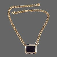 PANETTA Onyx and Diamante Crystal Necklace