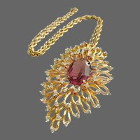 PANETTA Organic Amethyst and Crystal Pendant Necklace/Pin