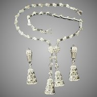 PENNINO Pave and Baguette Bell Pendants Lariat Necklace and Clip Pendant Earrings Set