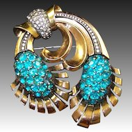 PENNINO Large Sterling Blue Topaz Deco Floral Pin