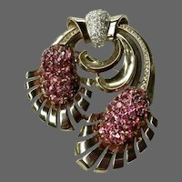 PENNINO Large Sterling Pink Topaz Crystal Deco Floral Pin