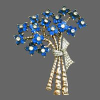 PENNINO Cobalt Blue and Diamante Crystals Floral Bouquet Pin