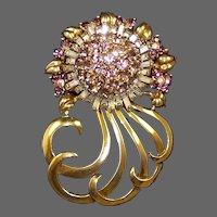 PENNINO Sterling Amethyst and Pink Topaz Crystals Huge Deco 'Sunburst' Floral Pin
