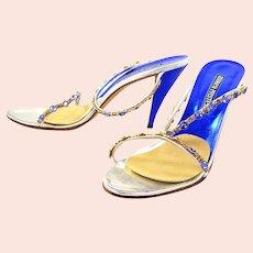 ANDREA PFISTER, Italy Metallic Cobalt Blue Swarovski Crystal Sandal 9.5