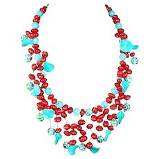 LANGANI Turquoise Blue and Carnelian Red Beaded Necklace
